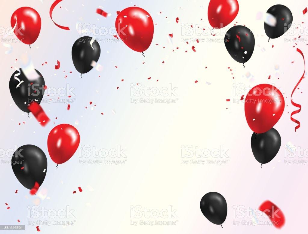 red black balloons confetti concept