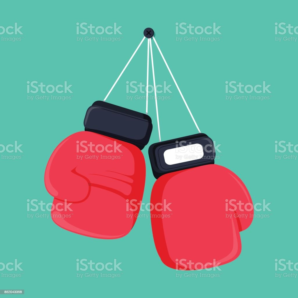 red boxing gloves hanging nail