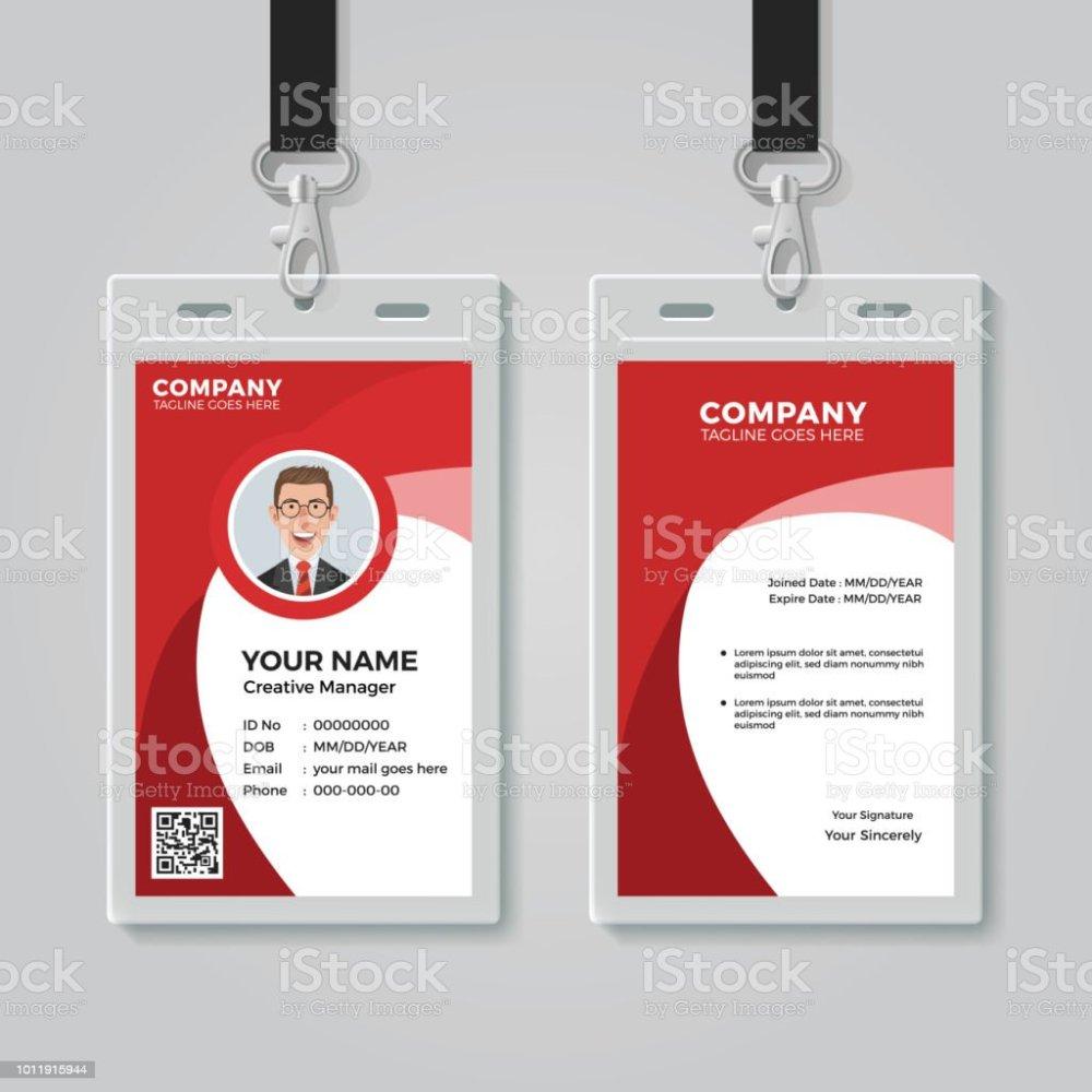 medium resolution of red corporate id card template illustration