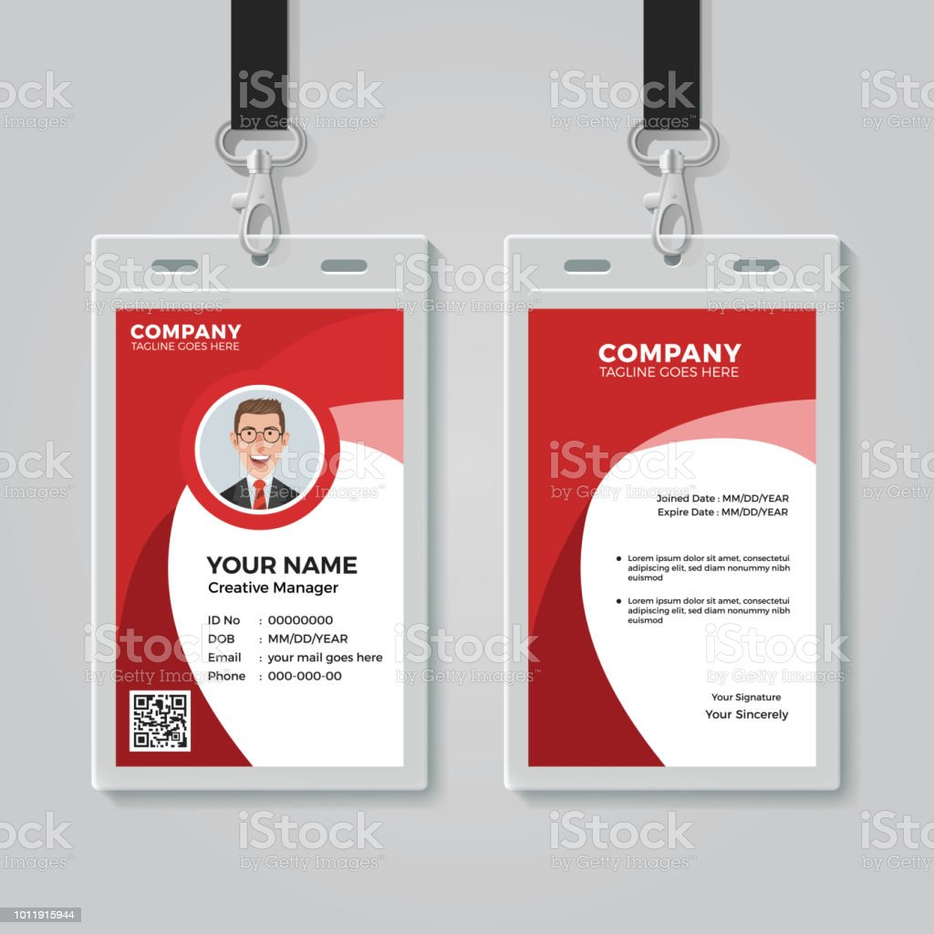 hight resolution of red corporate id card template illustration