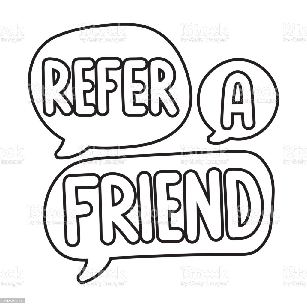 Refer A Friend Vector Hand Drawn Speech Bubbles Outline