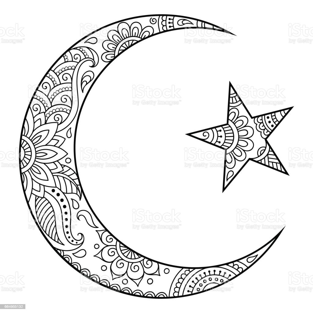 Religious Islamic Symbol Of The Star And The Crescent