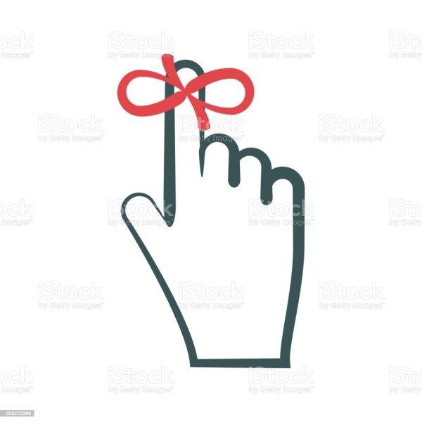 reminder symbol red ribbon tied