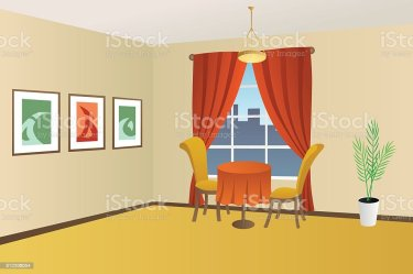 restaurant window vector table chair interior cartoon het cafe clip illustrazione illustratie ristorante finestra ceiling illustrations della bar element flat