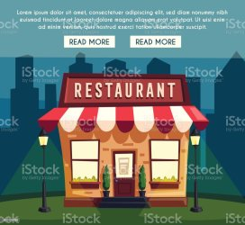 Restaurant Or Cafe At Night Exterior Building Cartoon Illustration Stock Illustration Download Image Now iStock