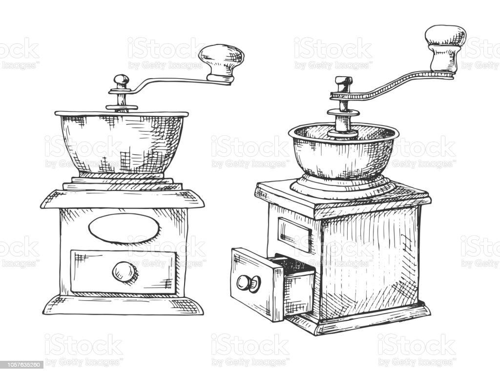 Retro Handmatige Koffiemolen Of Molen Schets In Vintage