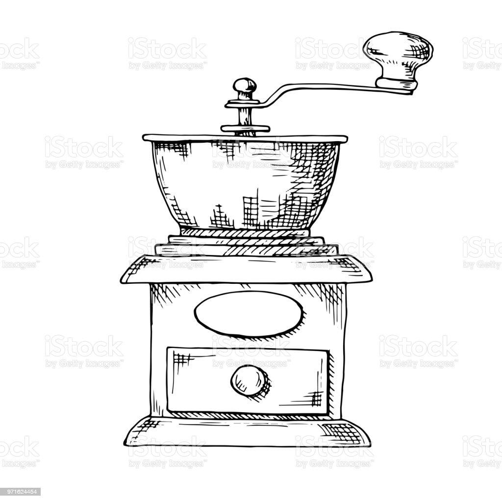 Retro Manual Coffee Grinder Or Mill Sketch In Vintage