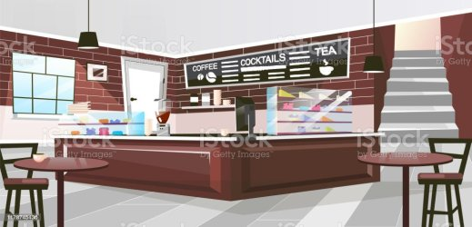 inside cartoon restaurant cafe interior vector bakery wooden flat retro counter chalk drinks board menu furniture spacious showcases hall coffee