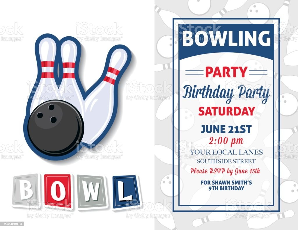 retro style bowling birthday party invitation template stock illustration download image now istock