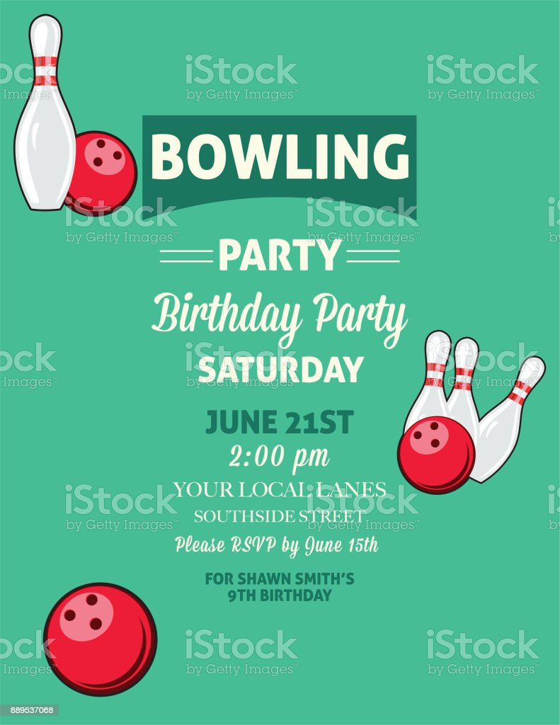 https www istockphoto com vector retro style bowling birthday party invitation template gm889537068 246597359