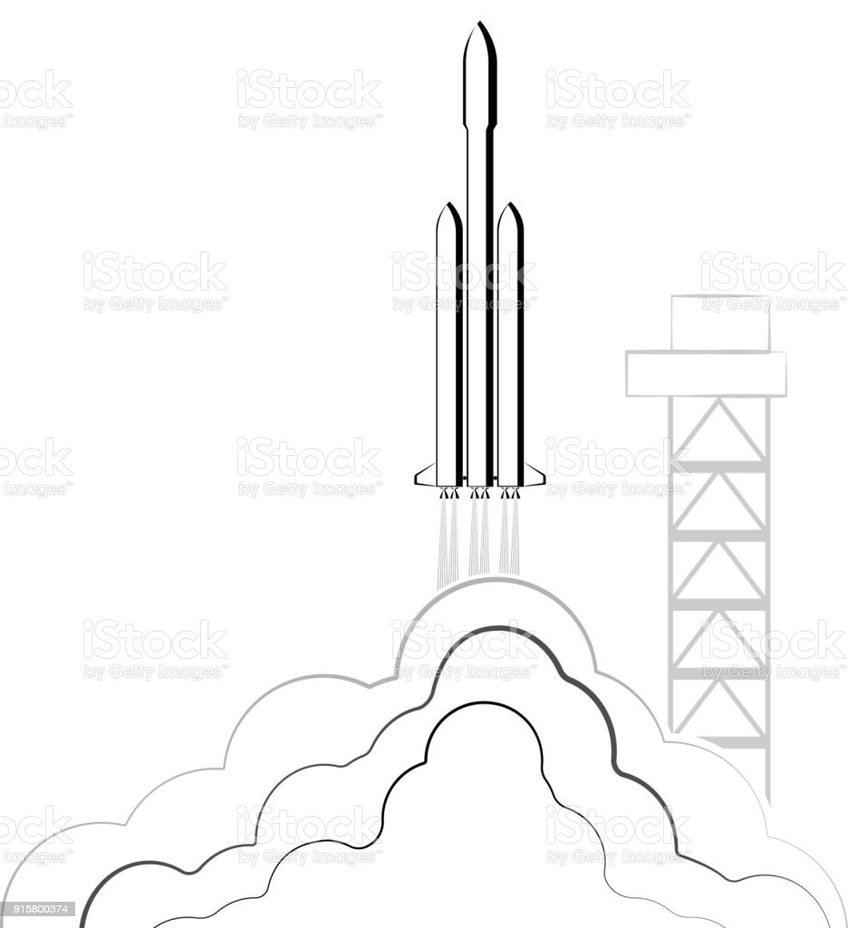 medium resolution of reusable launch rockets into space rocket return to earth the spaceship comes on to the orbit falcon illustration