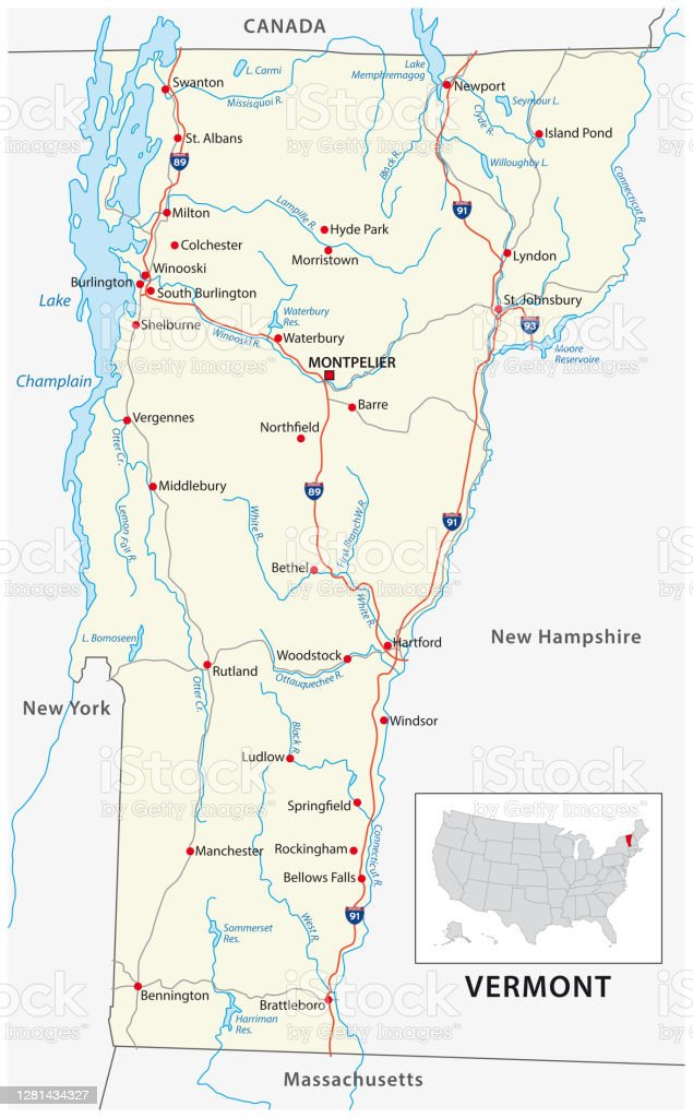 According to a 2016 estimate, vermont comprised a population of 624,594 people. Road Map Of The Us American State Of Vermont Stock Illustration Download Image Now Istock