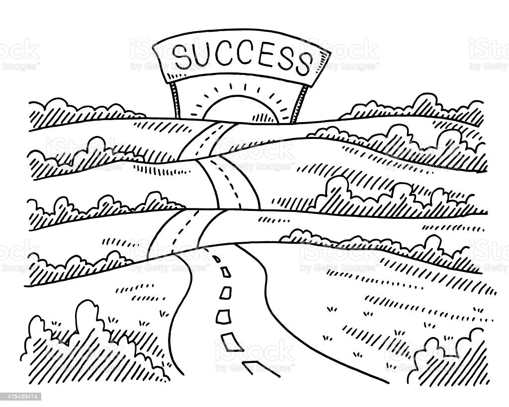 Road To Success Landscape Drawing Stock Vector Art & More