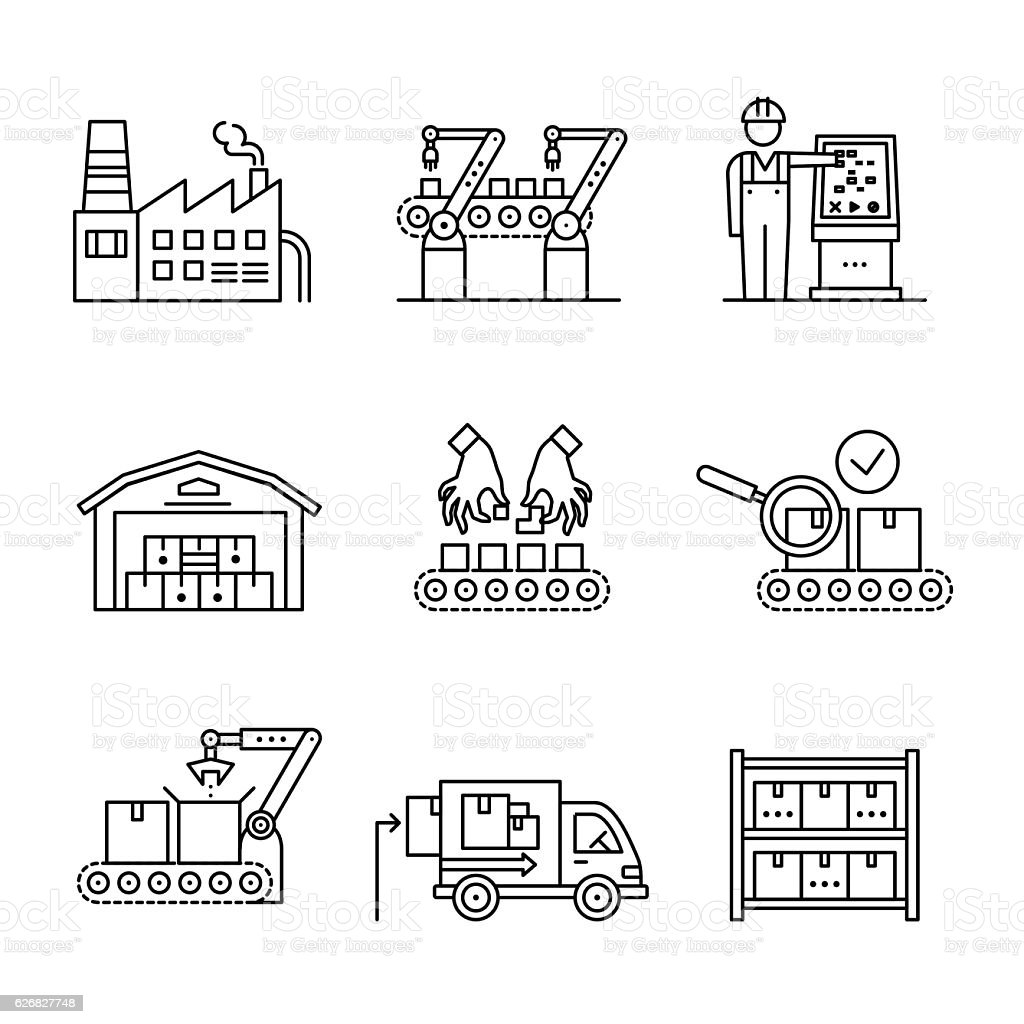 Robotic And Manual Manufacturing Assembly Lines Stock