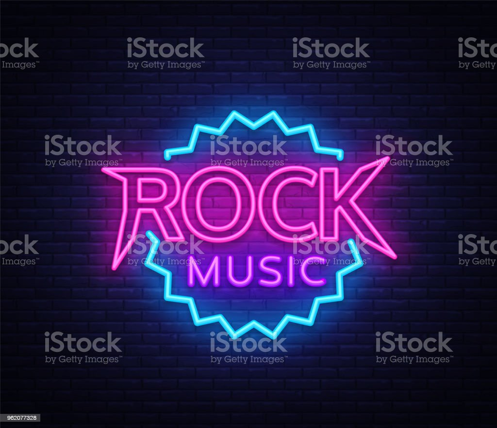 hight resolution of rock music vector neon rock music neon sign bright night sign light banner