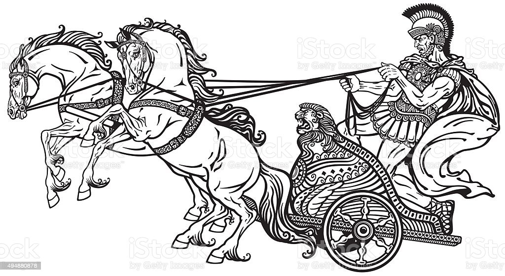 Roman Chariot Black And White Stock Illustration