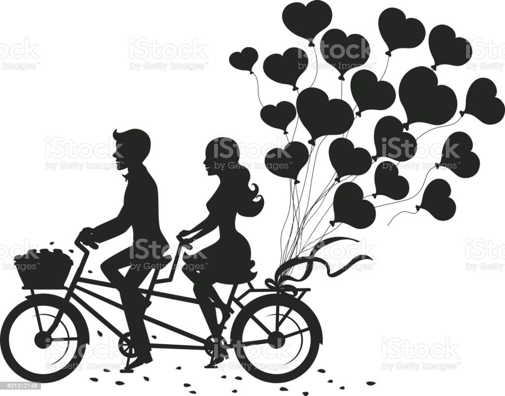 Romantic Couple Man And Woman On A Date Driving Tandem