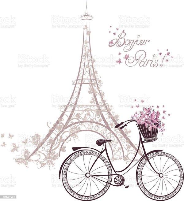 romantic postcard paris eiffel