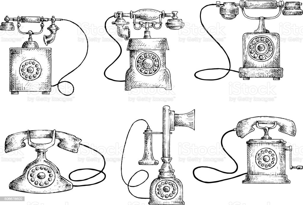 Rotary Dial And Candlestick Phones Sketches Stock