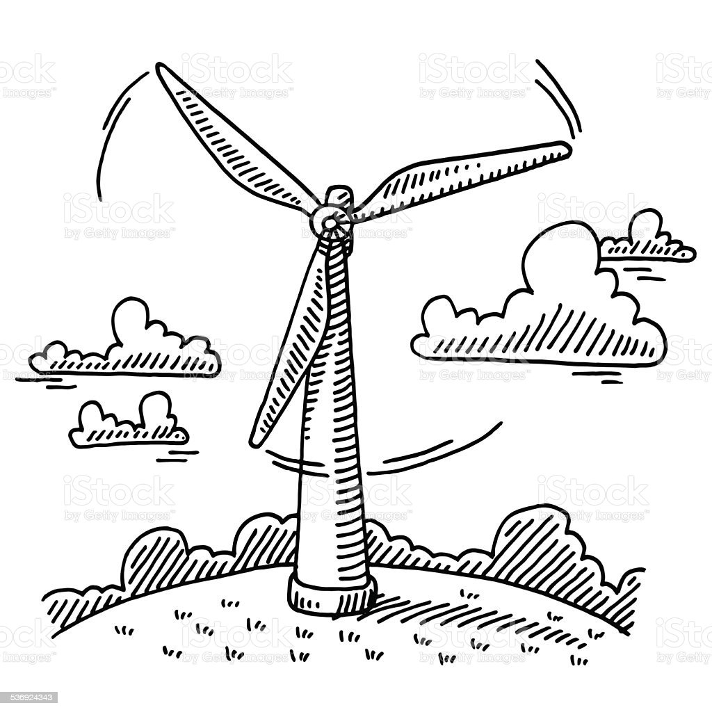 Rotating Wind Turbine Drawing Stock Vector Art & More