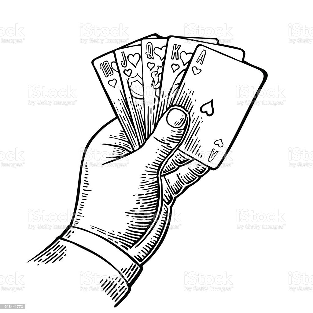 Royal Flush In Hearts Male Hand Holding A Game Card Stock