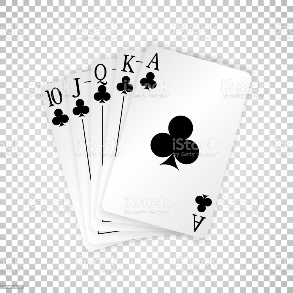 A Royal Straight Flush Playing Cards Poker Hand In Clubs