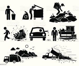 Rubbish Trash Garbage Waste Dump Site Stick Figure Pictogram Icons Stock Vector Art & More