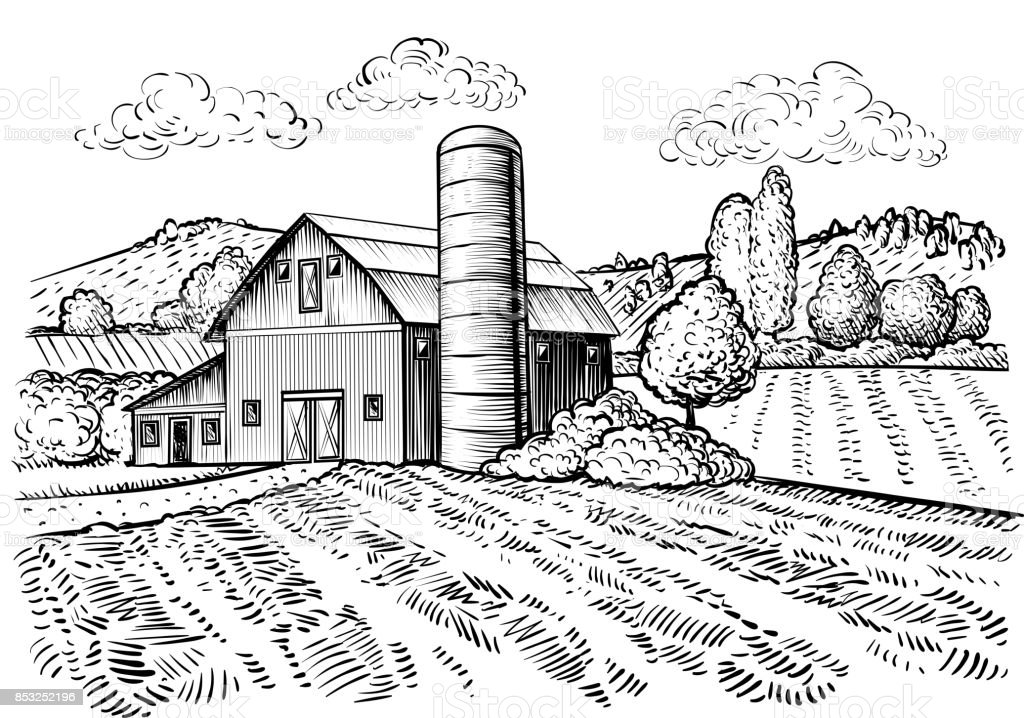 Rural Landscape Farm Barn And Windmill Sketch Stock Vector