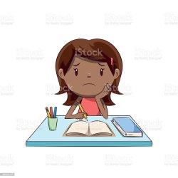 Sad Little Girl Homework Stock Illustration Download Image Now iStock