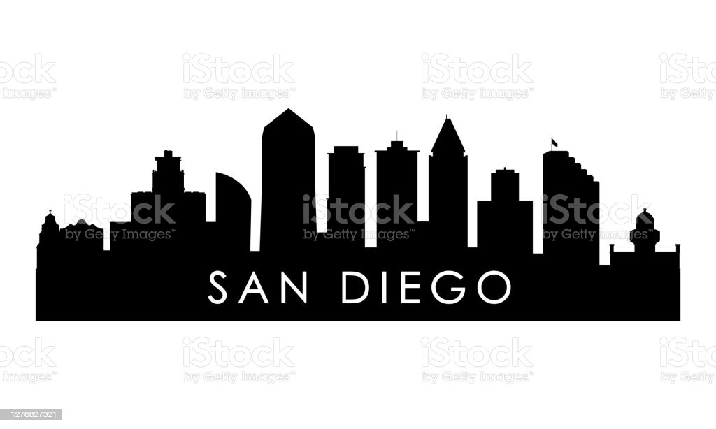 San Diego Skyline Silhouette Black San Diego City Design Isolated On White Background Stock ...