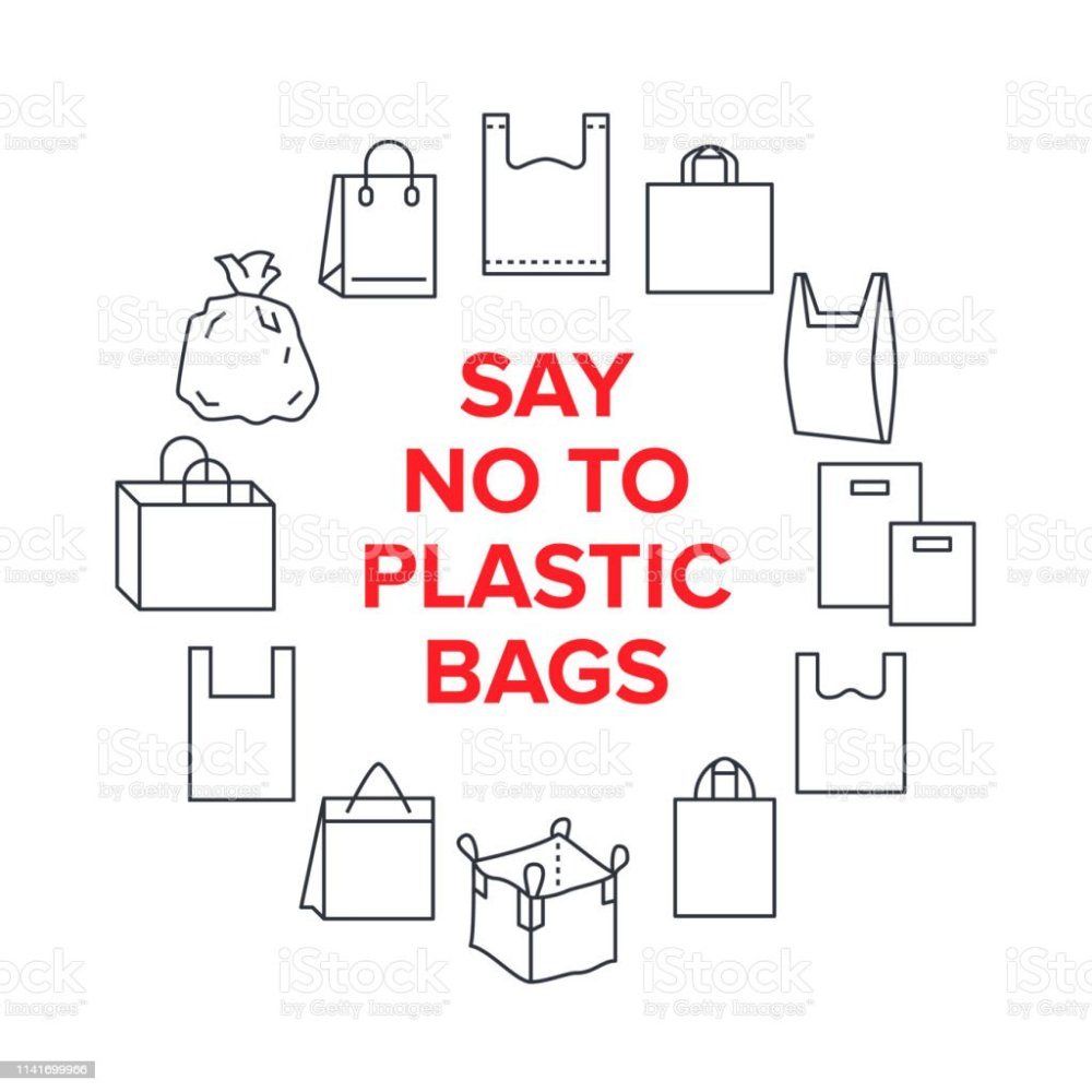 medium resolution of say no to plastic bags circle template with flat line icons polyethylene pollution awareness vector illustration for poster