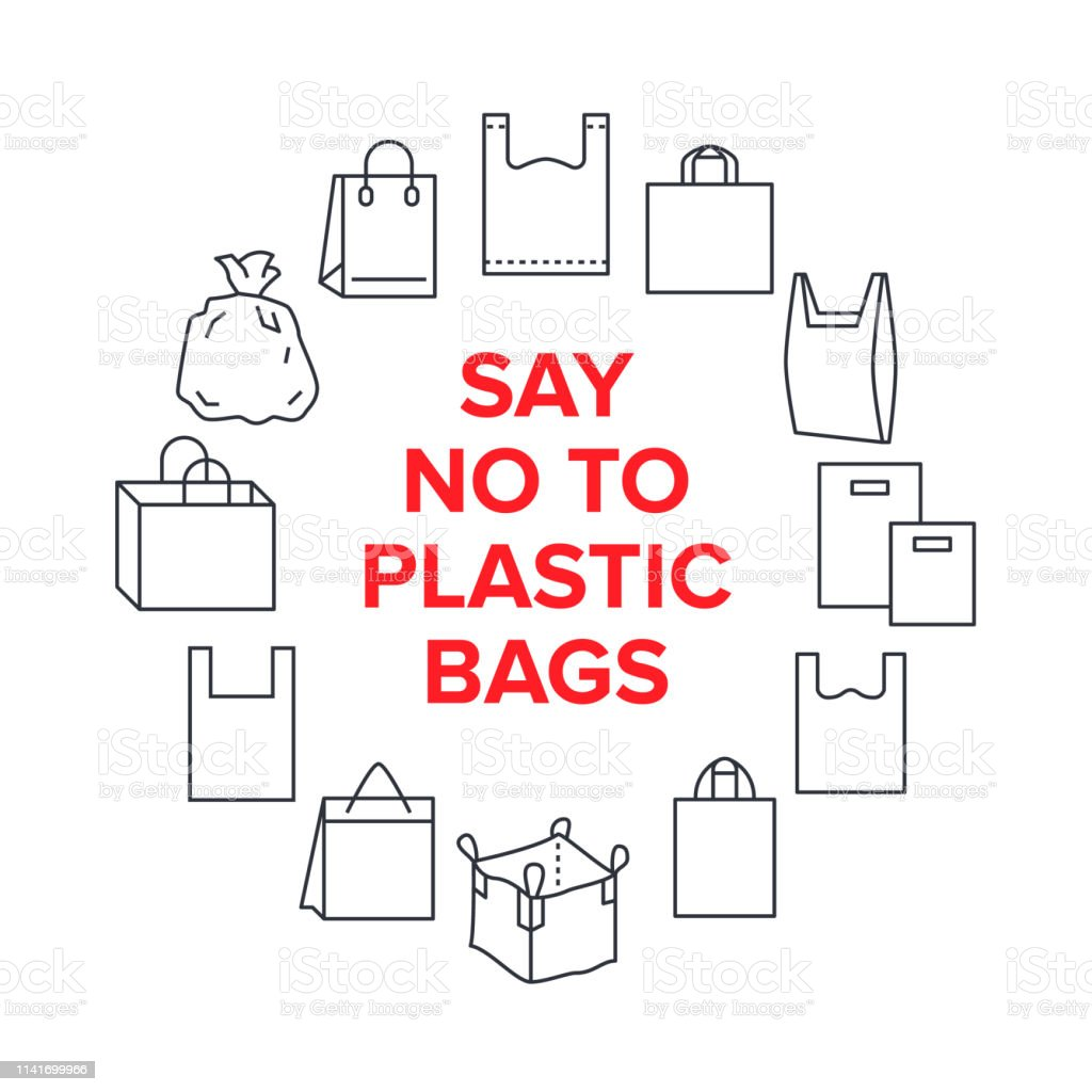 hight resolution of say no to plastic bags circle template with flat line icons polyethylene pollution awareness vector illustration for poster