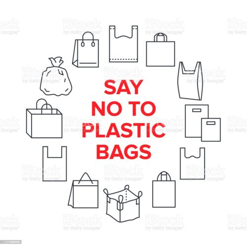 small resolution of say no to plastic bags circle template with flat line icons polyethylene pollution awareness vector illustration for poster