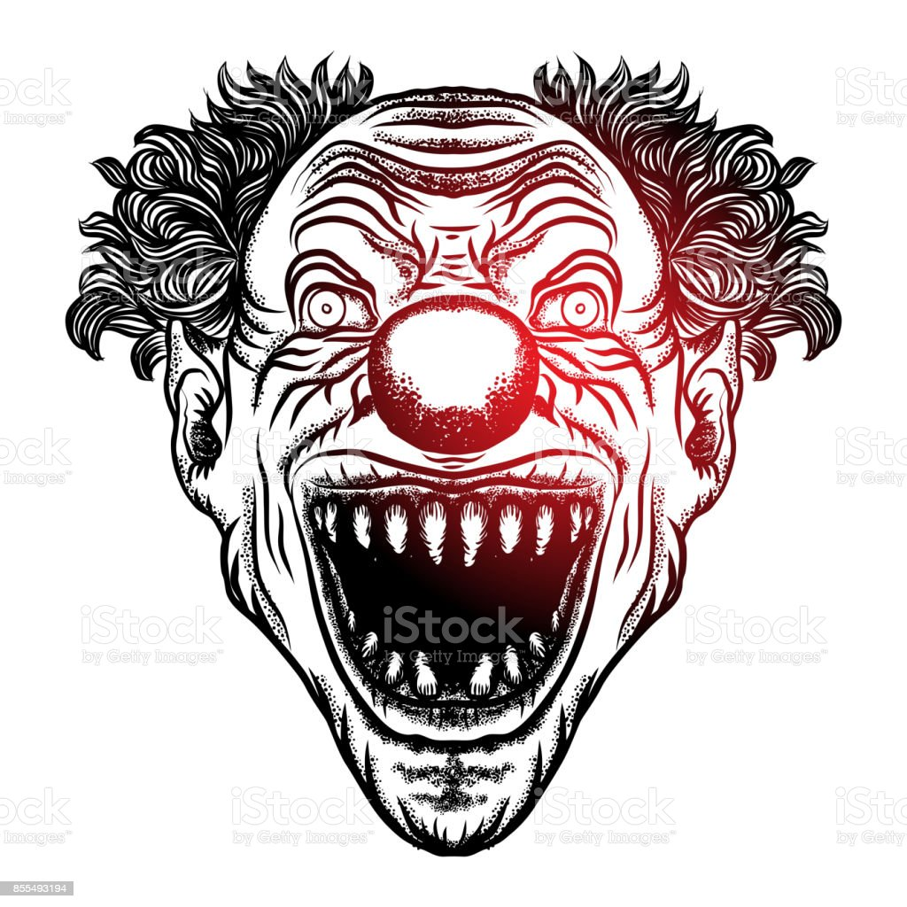 scary clown illustrations