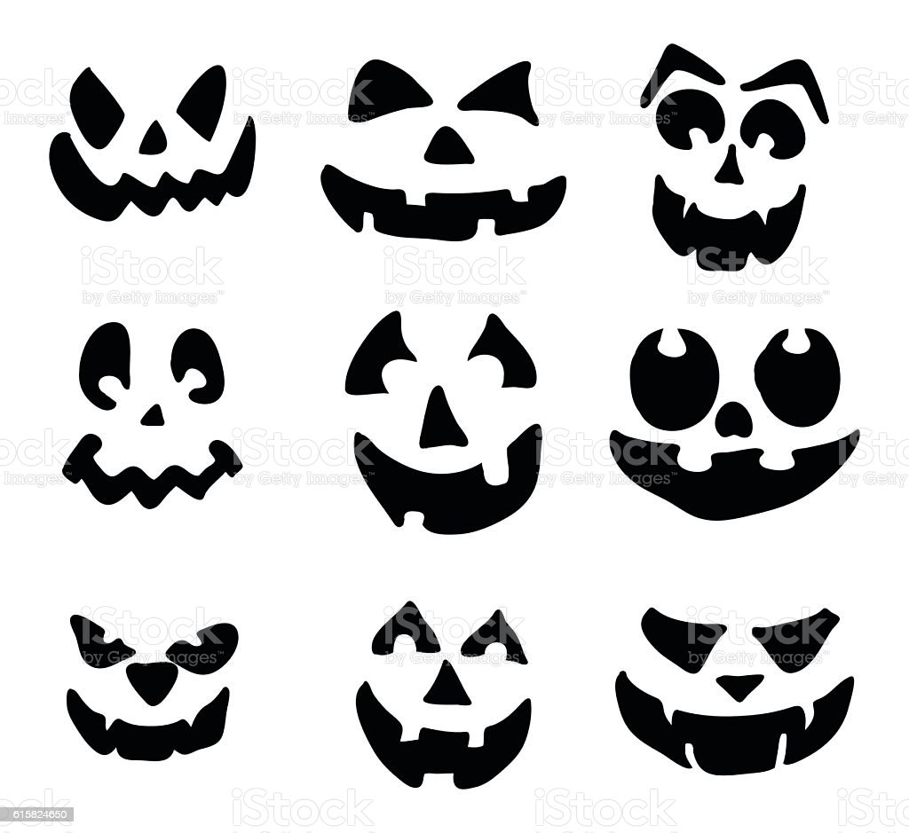 Scary Pumpkin Face Vector Symbol Icon Design Stock