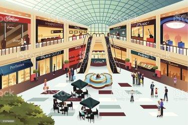 mall shopping vector inside illustrations clip vectors illustration building