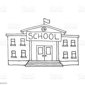 building doodle drawing simple vector outlined doodles schoolhouse university illustration architecture drawings campus classical frame