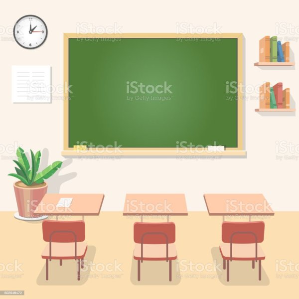 School Classroom with Chalkboard