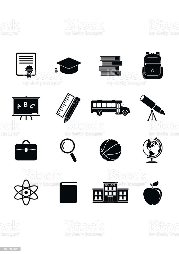 School Icons Education Collection College Training Symbols