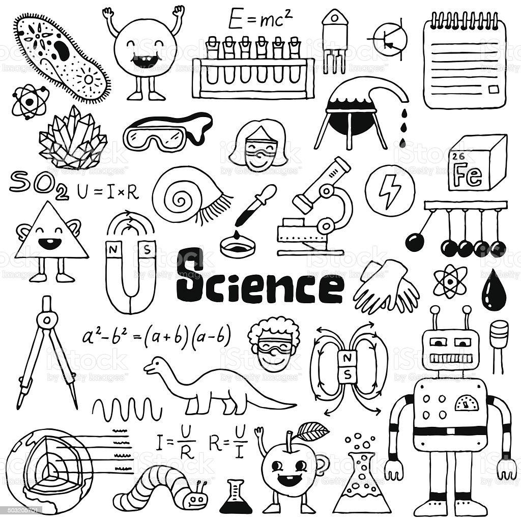 School Science Doodle Set 1 Hand Drawn Vector Illustration