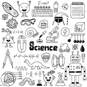 science doodle doodles drawn illustration vector hand drawing notebook sketch icon para cuadernos illustrations microscope kid biology notes boys shutterstock