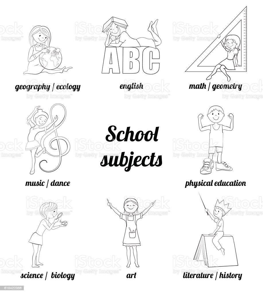 School Subjects Vector Coloring Page Stock Illustration