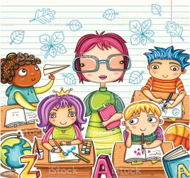 cartoon characters classroom themed illustration adult vector creative boys
