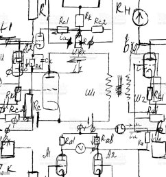 scientific seamless texture with handwritten formulas and electronic components physics and schematic diagram and circuit [ 1024 x 1024 Pixel ]