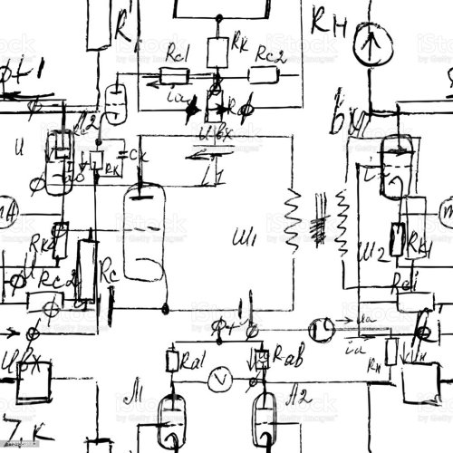 small resolution of scientific seamless texture with handwritten formulas and electronic components physics and schematic diagram and circuit