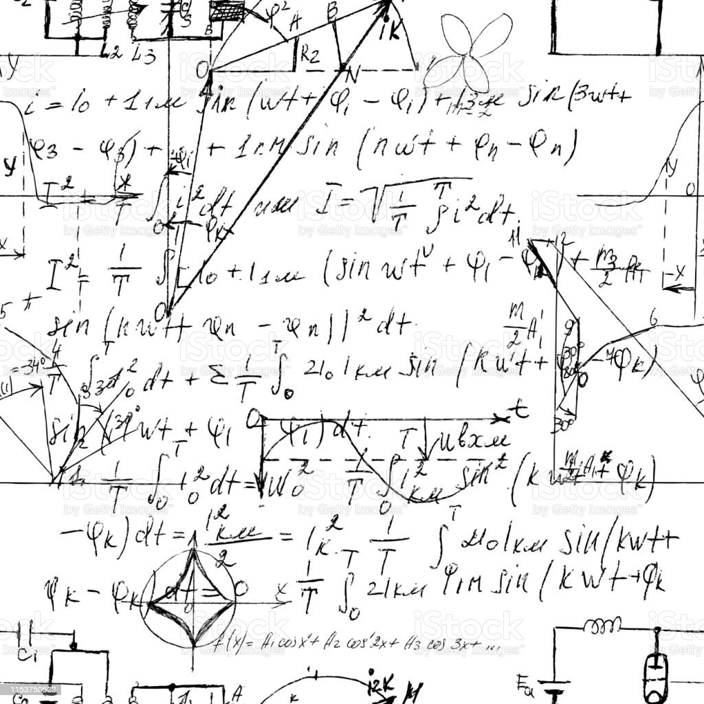 Scientific Seamless Texture With Handwritten Formulas And