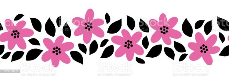Seamless Border Flowers And Leaves Flat Cartoon Style Vector Pink And Black Florals And Leaf Elements Simple Scandinavian Hand Drawn Design For Banner Card Decor Ribbon Celebration Party Invite Stock Illustration