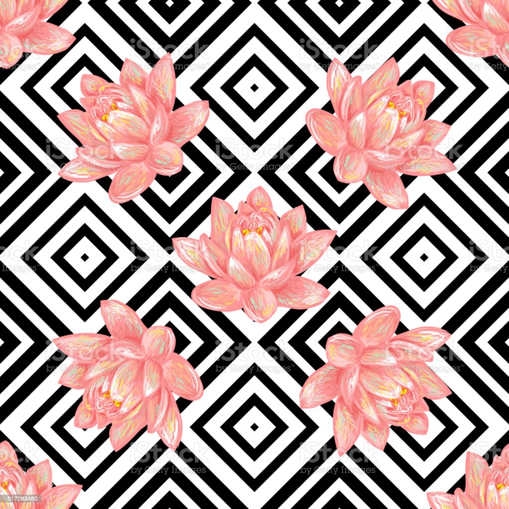 Seamless Floral Pattern Background With Tropical Pink Lotus Stock Illustration - Download Image Now - iStock