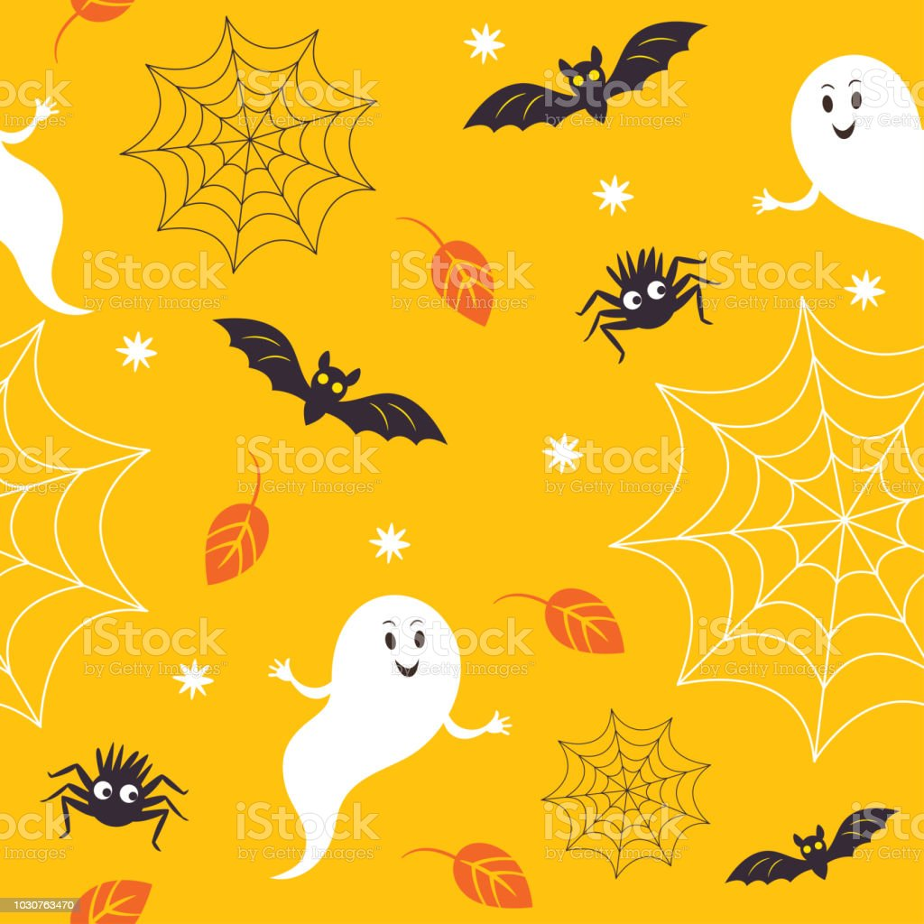seamless halloween background little