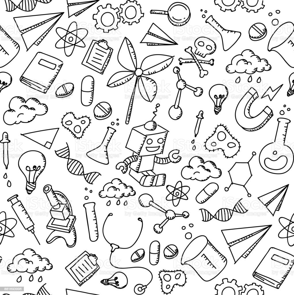 Seamless Pattern Background Science Equipment Kids Hand